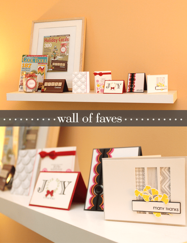 Craft room shelf with cards