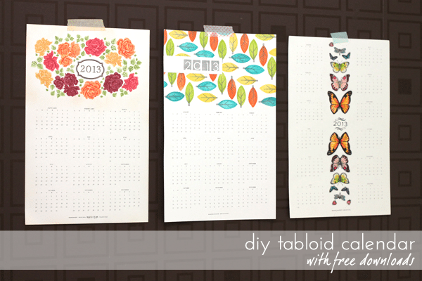 DIY tabloid calendars with free download