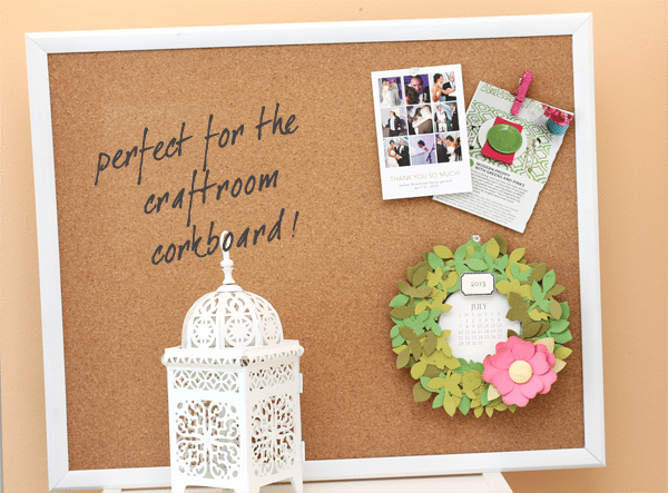 Wreath Calendar on Corkboard