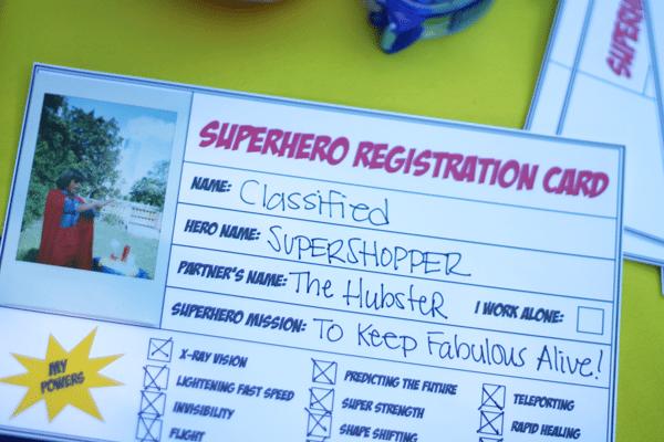 Super Hero Regstristration Card