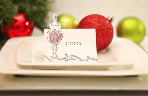 Christmas Partial Die cut Placecard
