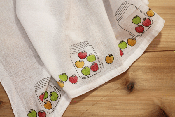 Apple Mason Jar Stamped Tea Towels