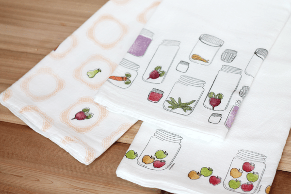 Trio of DIY Stamped Tea Towels