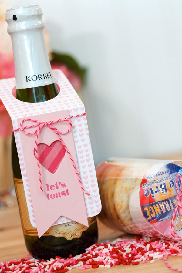 Champagne and Cheese Valentine's Day Favor