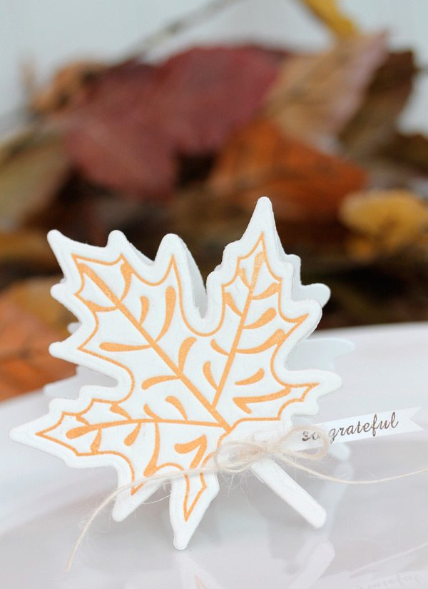 Autumn Letterpress Placesetting Close | Damask Love Blog
