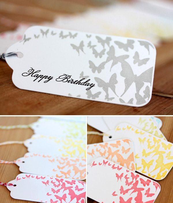 Butterfly Rainbow Letterpress Tags Storyboard | Damask Love