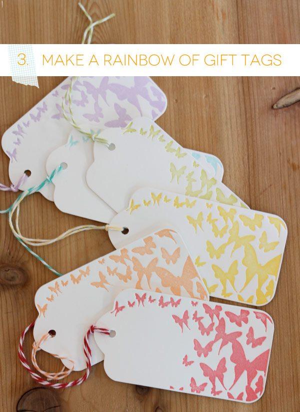 Butterfly Rainbow Letterpress Tags | Damask Love