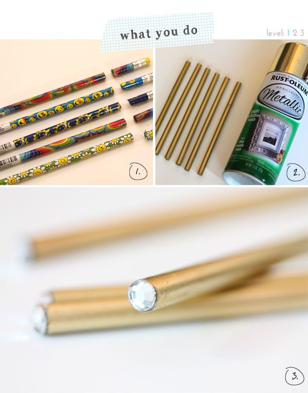 How to Make Metallic Jeweled Pencils