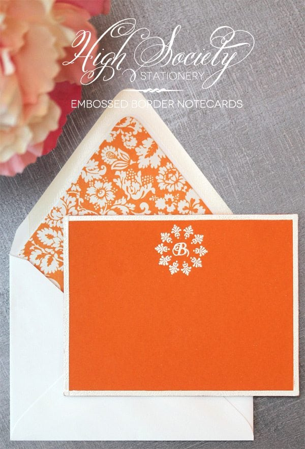 High Society Stationery: Embossed Border Notecards
