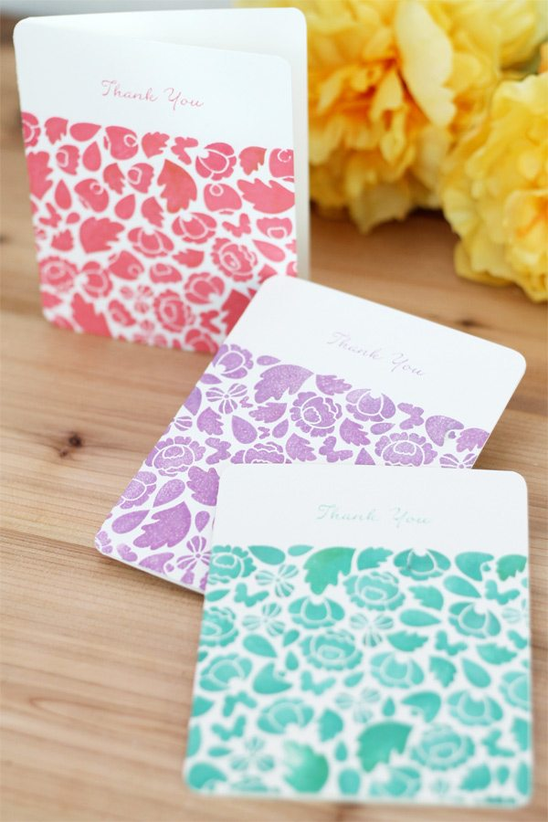 Trio of Monochromatic Floral Buds Stationery | Damask Love Blog