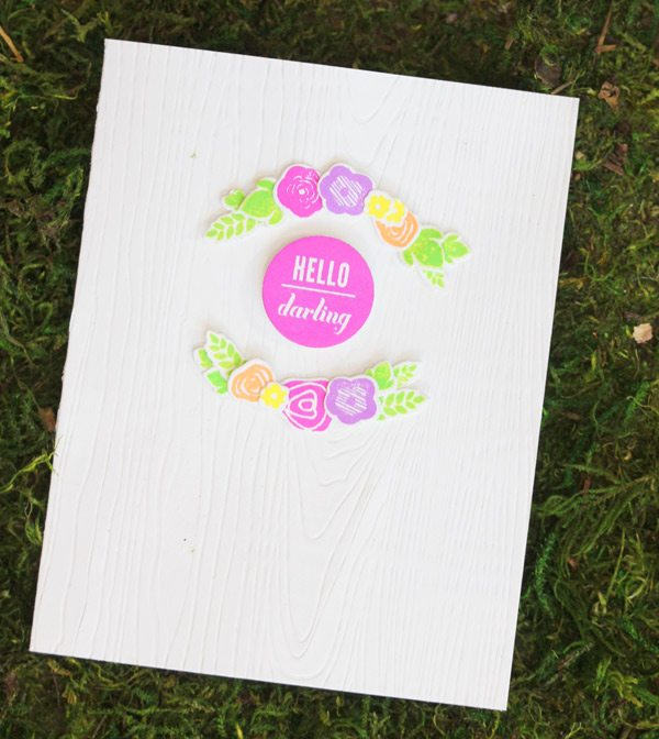 Neon & Woodgrain Hello Card |Damask Love Blog
