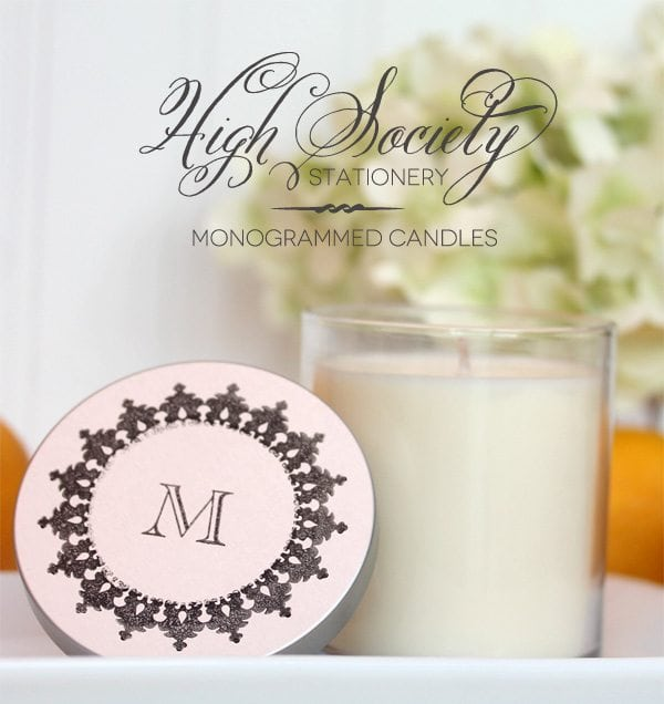 High Society Stationery: DIY Monogrammed Candles