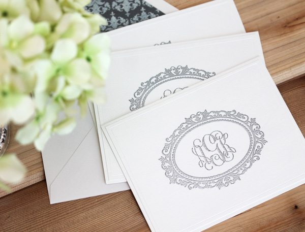 High Society Stationery: Inkjet Monogrammed Notecards | Damask Love Blog