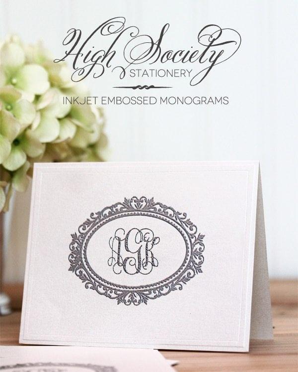 high society stationery inkjet monogram notecards damask love