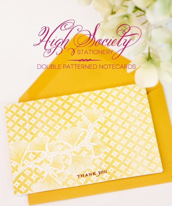 High Society Stationery: Double Patterned Notecards