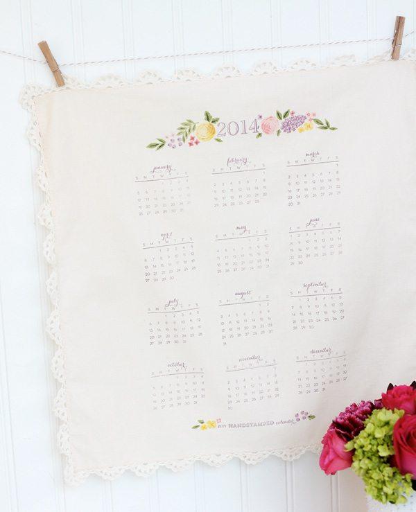 Handstamped Handkerchief Calendar    Damask Love