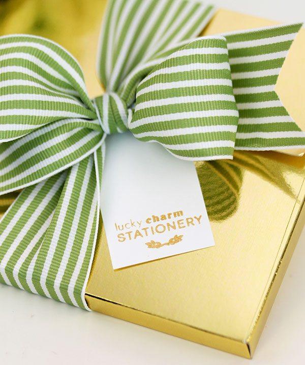 Gold Bow Stationery | Damask Love