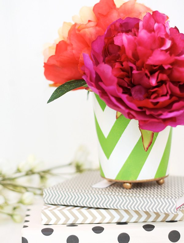 Handpainted Pencil Cup   Damask Love