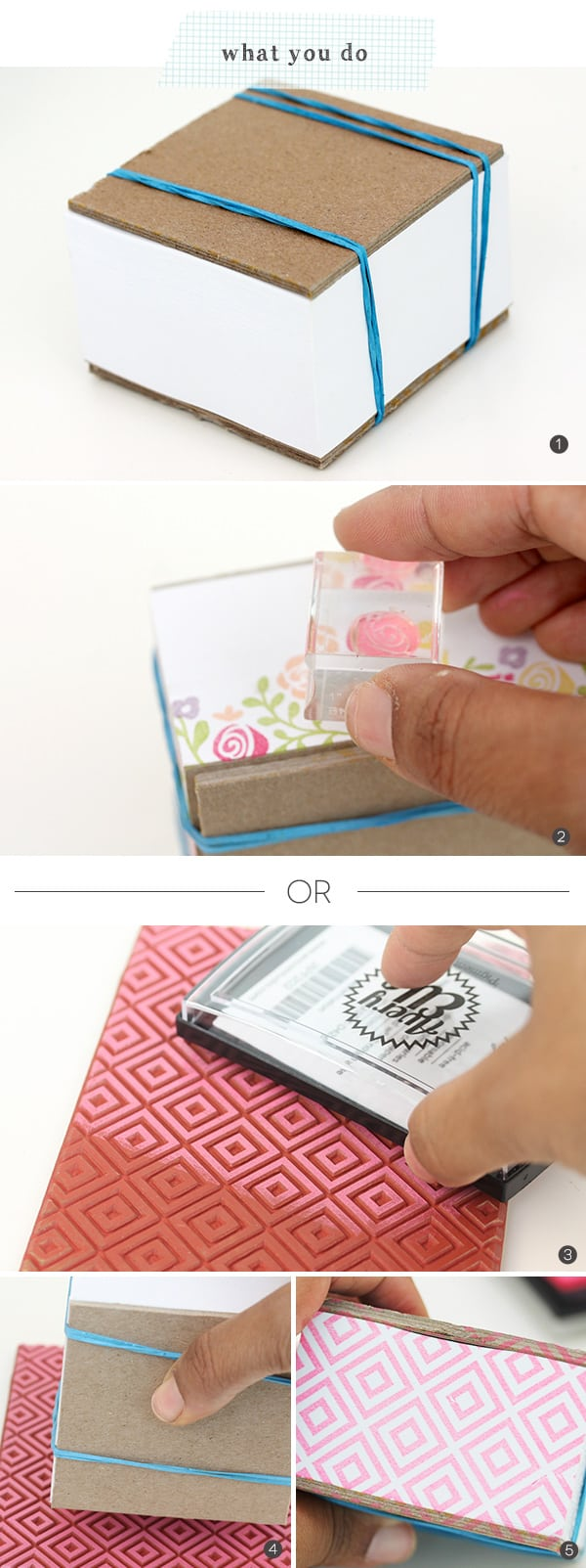 Handstamped Monogram Notepad Block | Damask Love