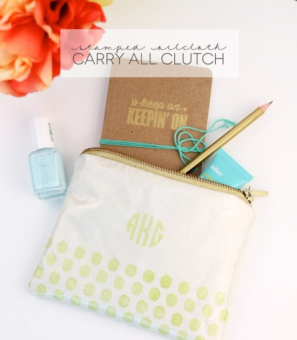Stamped Oilcloth Carry All Clutch