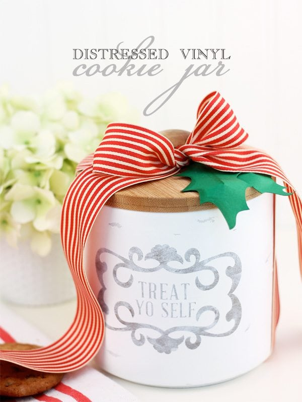 DIY Distressed Vinyl Cookie Jar