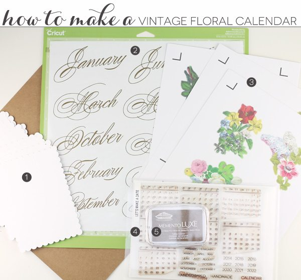 DIY Vintage Floral Calendar with Cricut Explore | Damask Love