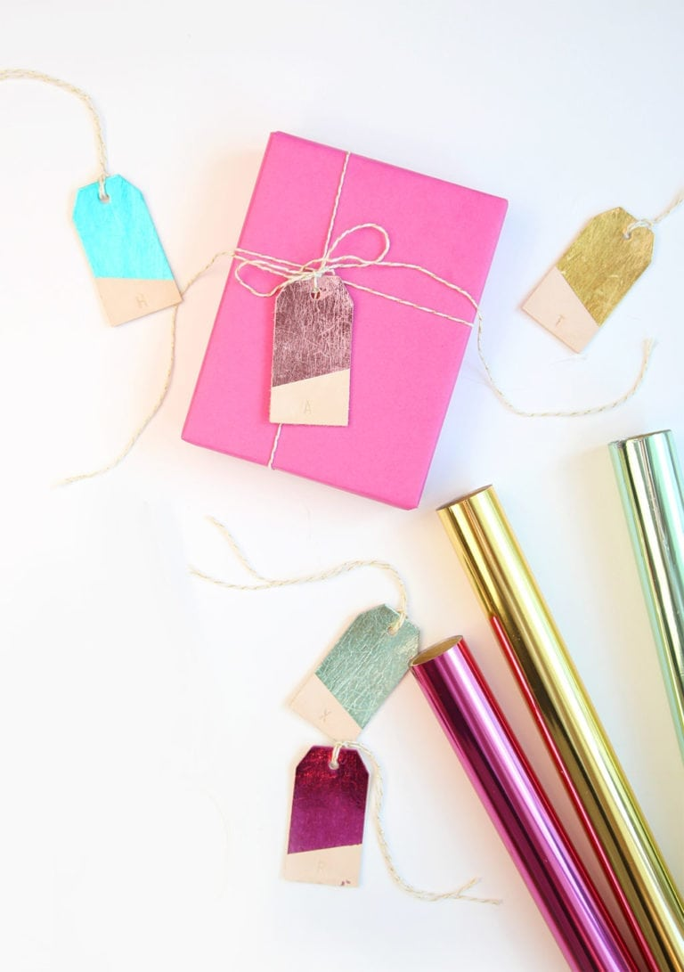 DIY Foiled Leather Gift Tags