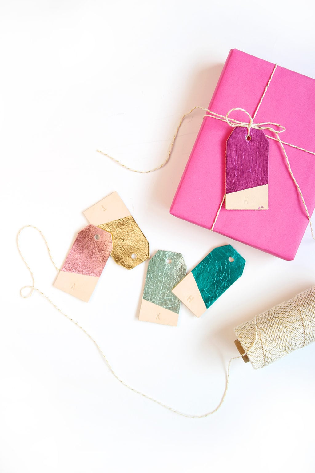DIY Foiled Leather Gift Tags | damask love