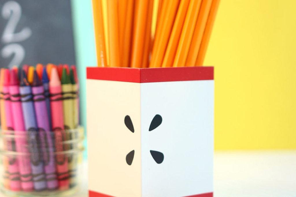 Diy Modern Apple Pencil Holder Damask Love