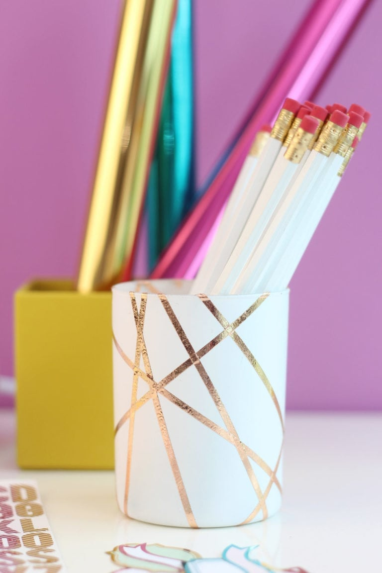 Easy Rose Gold Foiled Pencil Cup