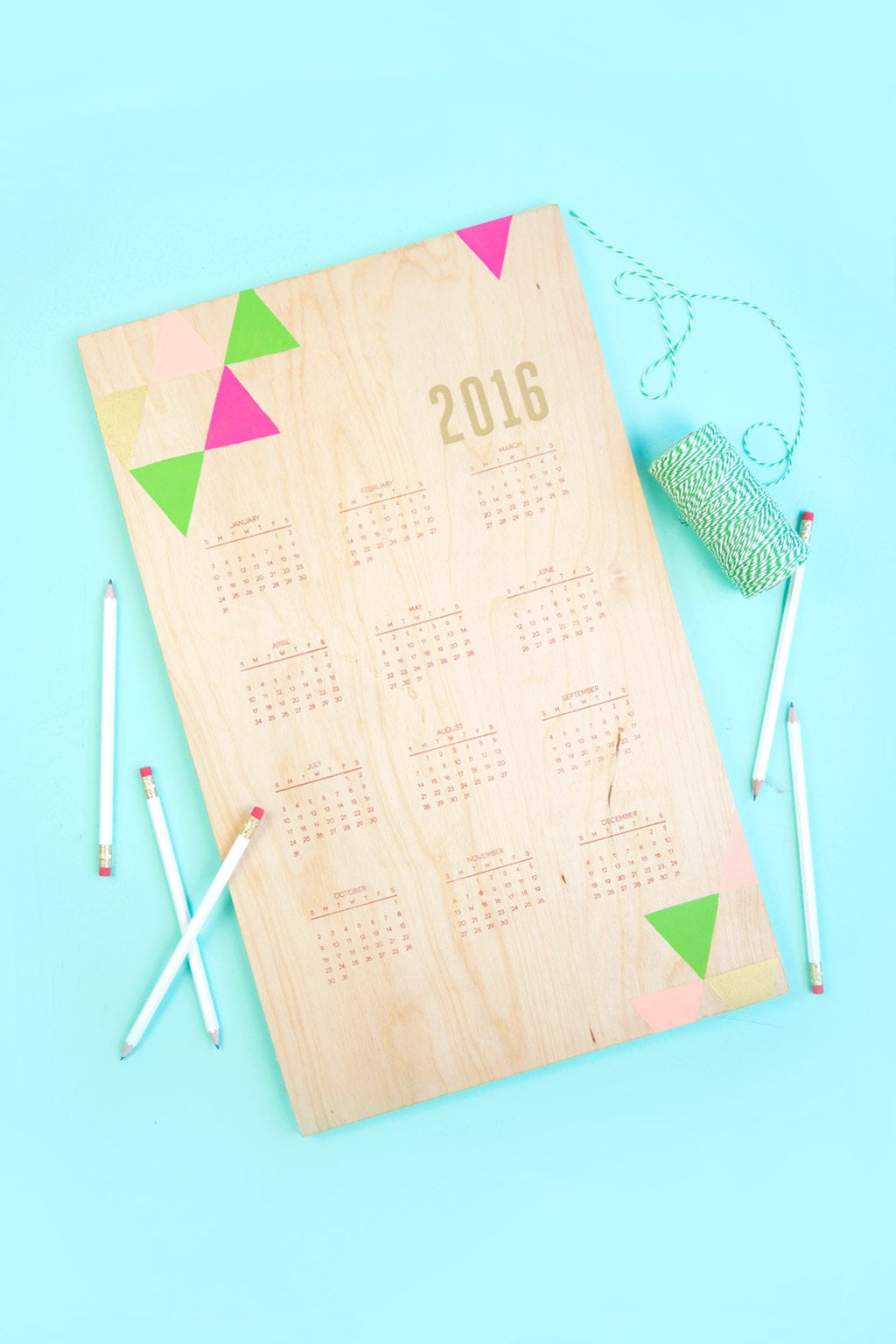 Handstamped Wood Calendar | damask love