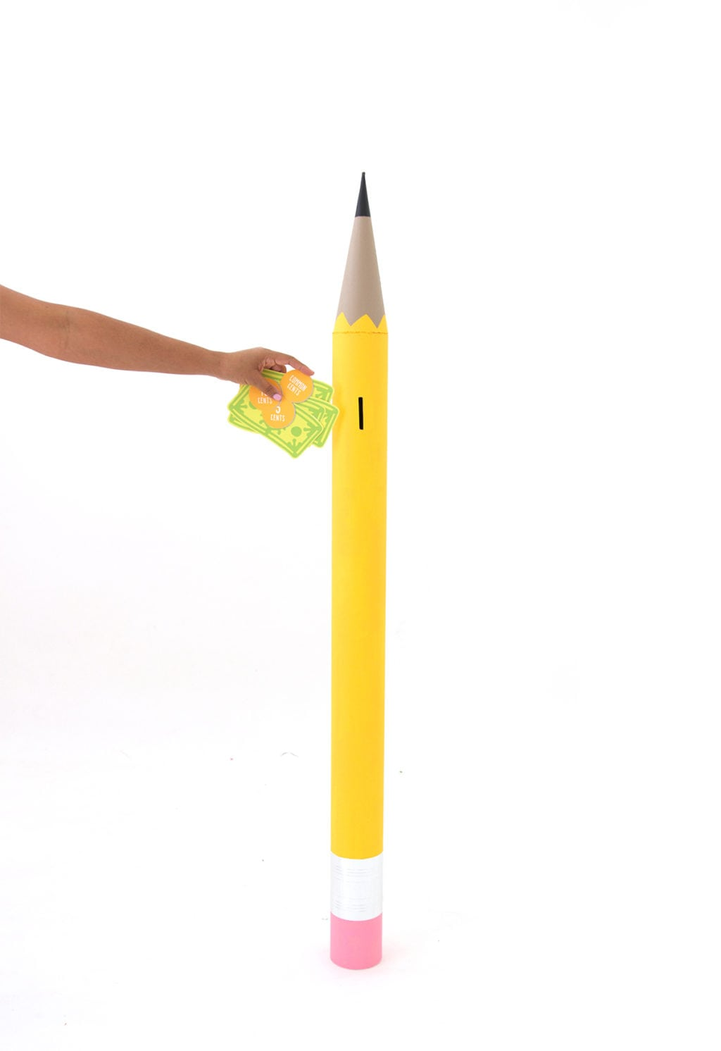 DIY Giant Mail Tube Pencil Piggy Bank