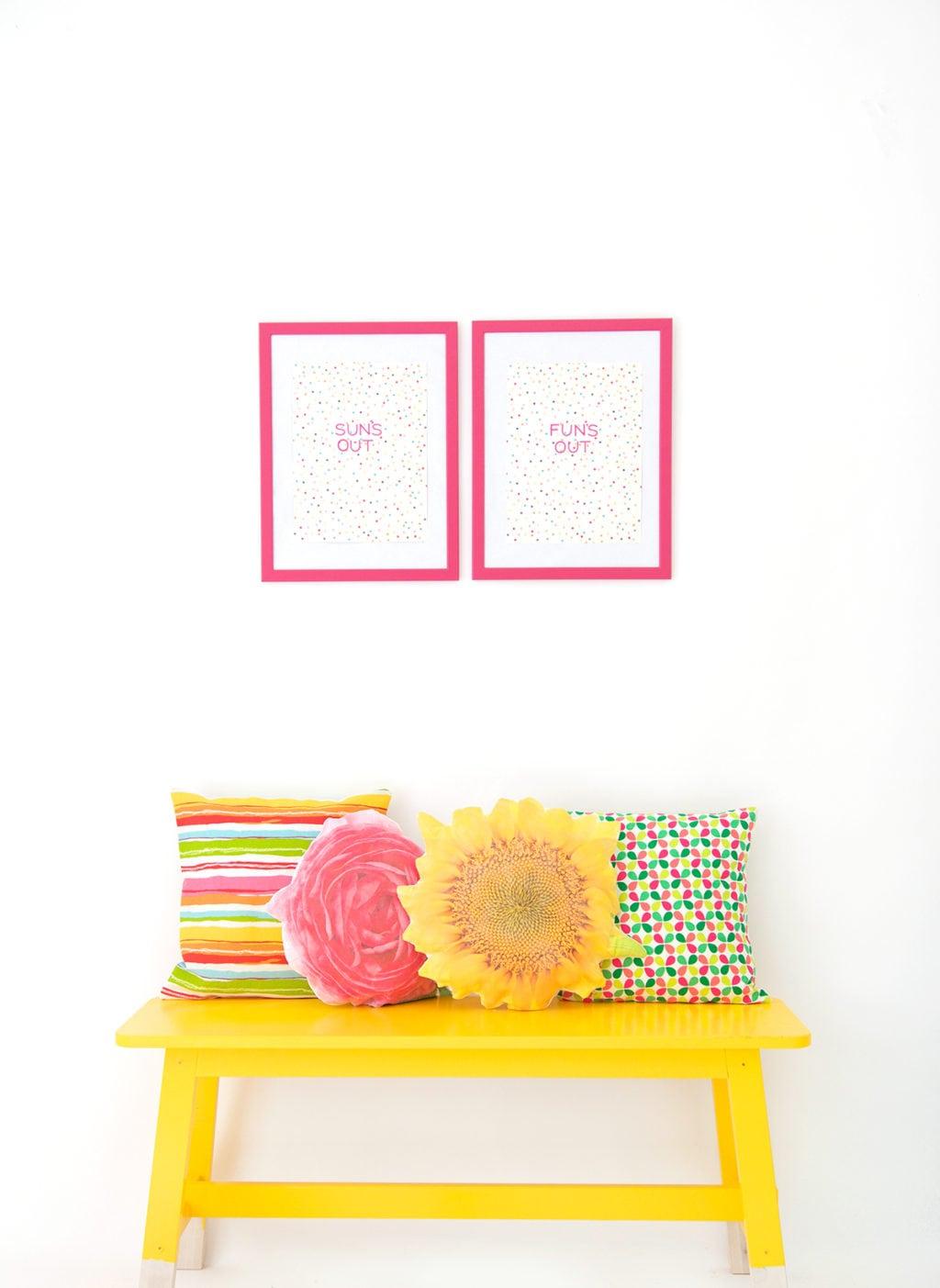 DIY Photo Transfer Flower Pillows