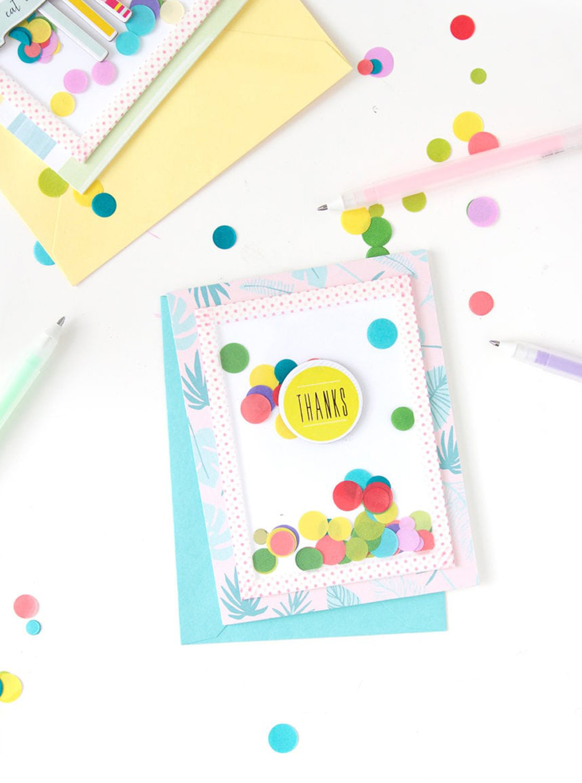 Flamingo Shaker Birthday Card