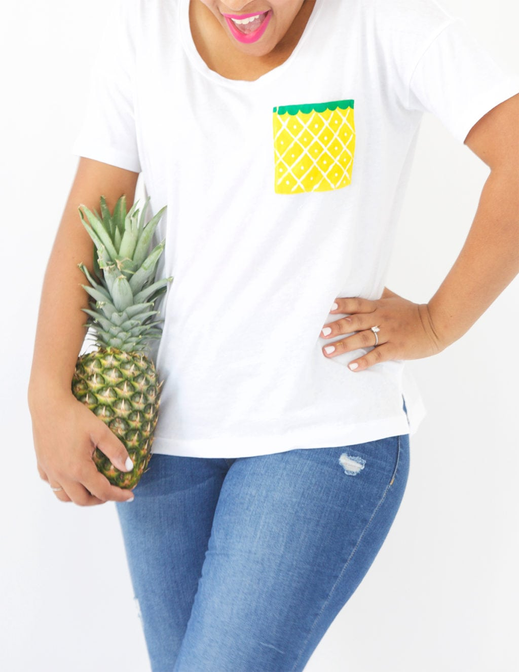 Use an Old Navy Tee to create perfect summertime DIY fruit pocket tees.
