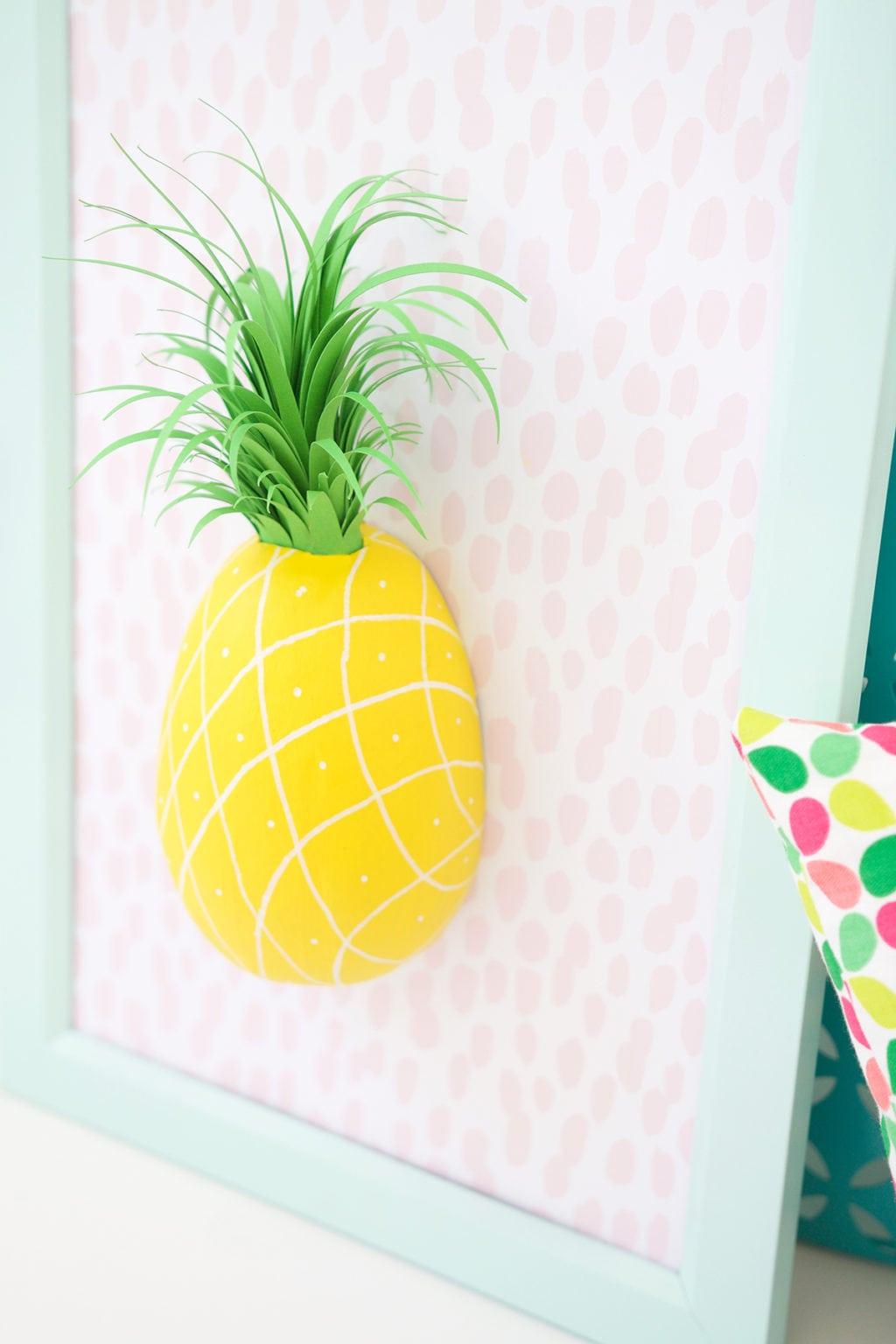 DIY Paper Mache Pineapple Wall Art - Damask Love