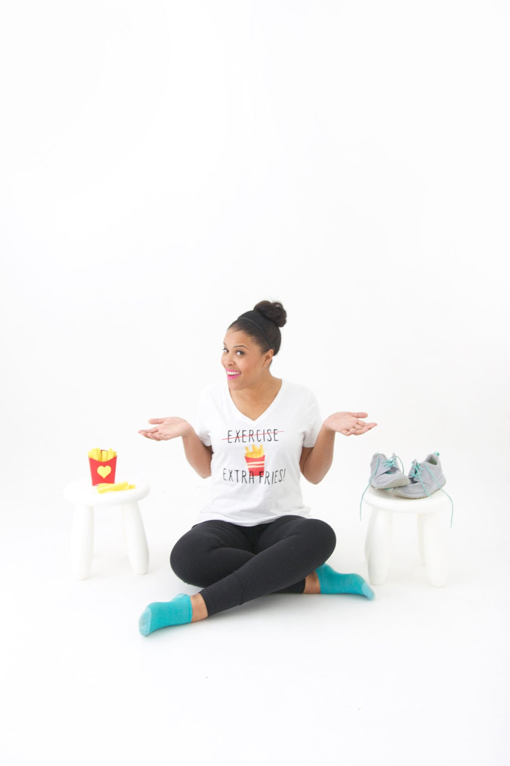 Cardio is great but sometimes you need to indulge in a little golden brown deliciousness! Trade the exercise for Extra Fries with this DIY Iron on Tee!