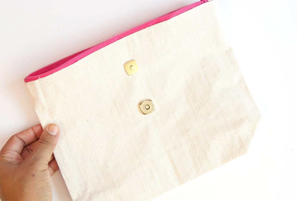 Create a DIY No Sew Clutch with a mini canvas tote bag and just a few adjustment