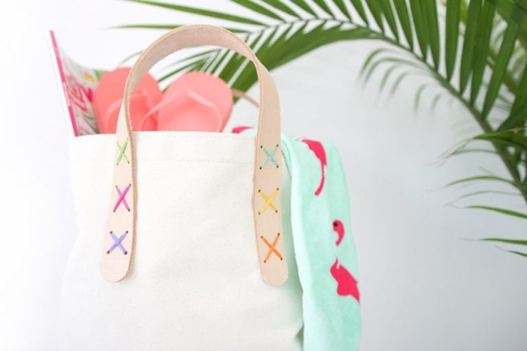 DIY Leather Strap Canvas Tote