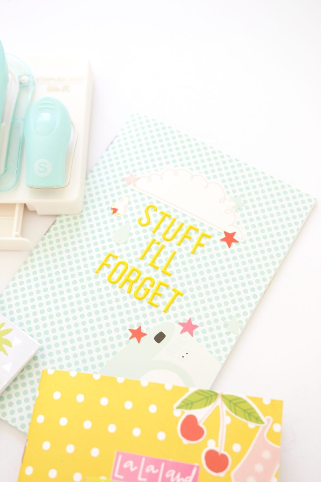 Introducing the new We R Memory Keepers Staple Board that let's you staple anywhere on the page. Use it to create these Easy Stapled Notebooks in minutes