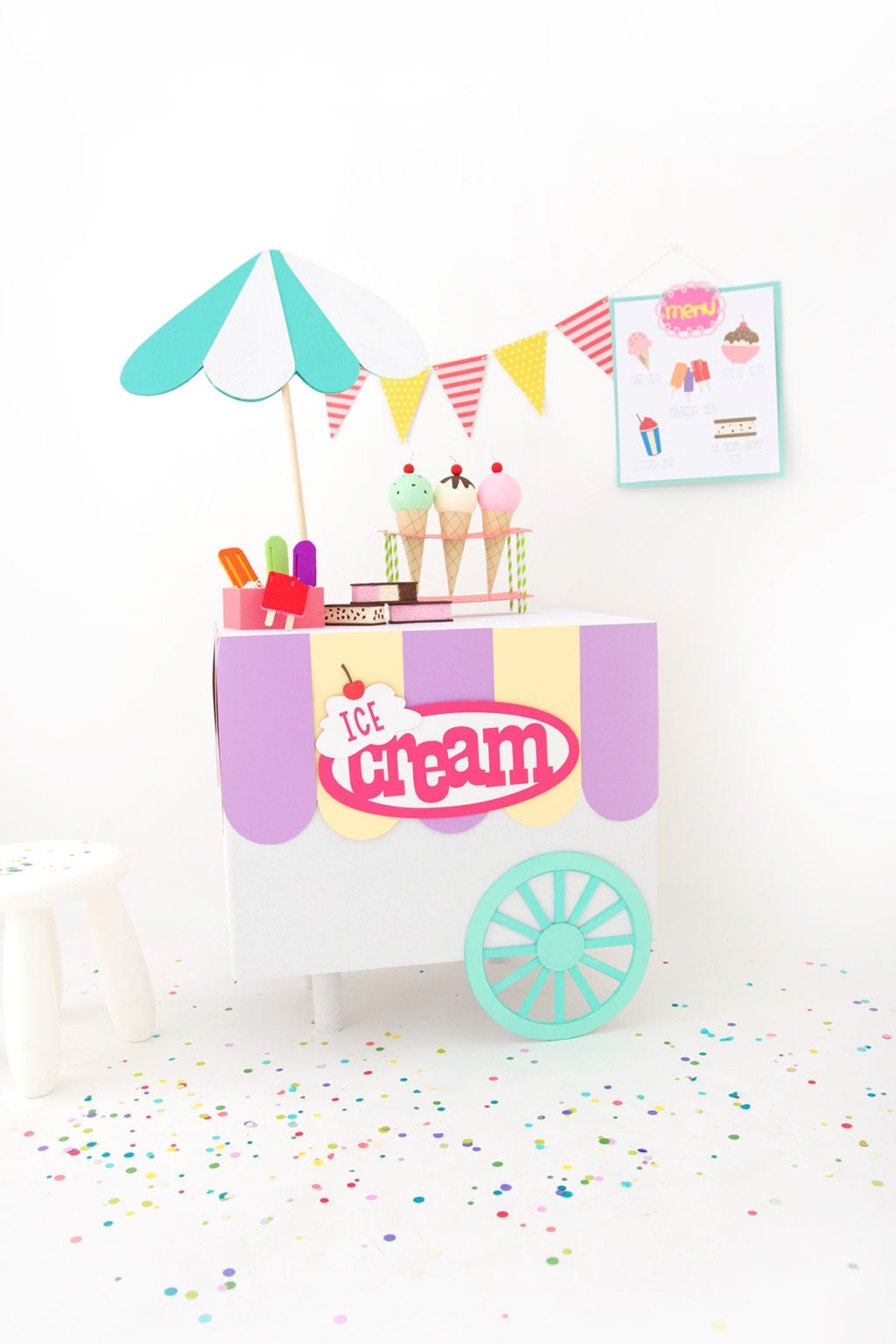 Diy Cardboard Box Ice Cream Cart Damask Love