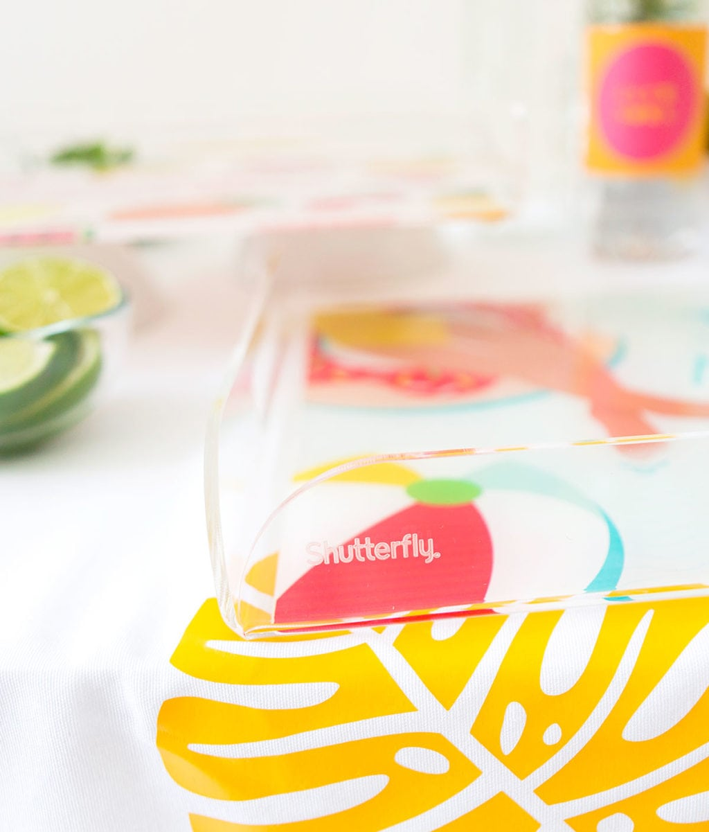 Customize your own DIY Shutterfly Acrylic Trays with free downloads that are perfect for summertime entertaining by the pool