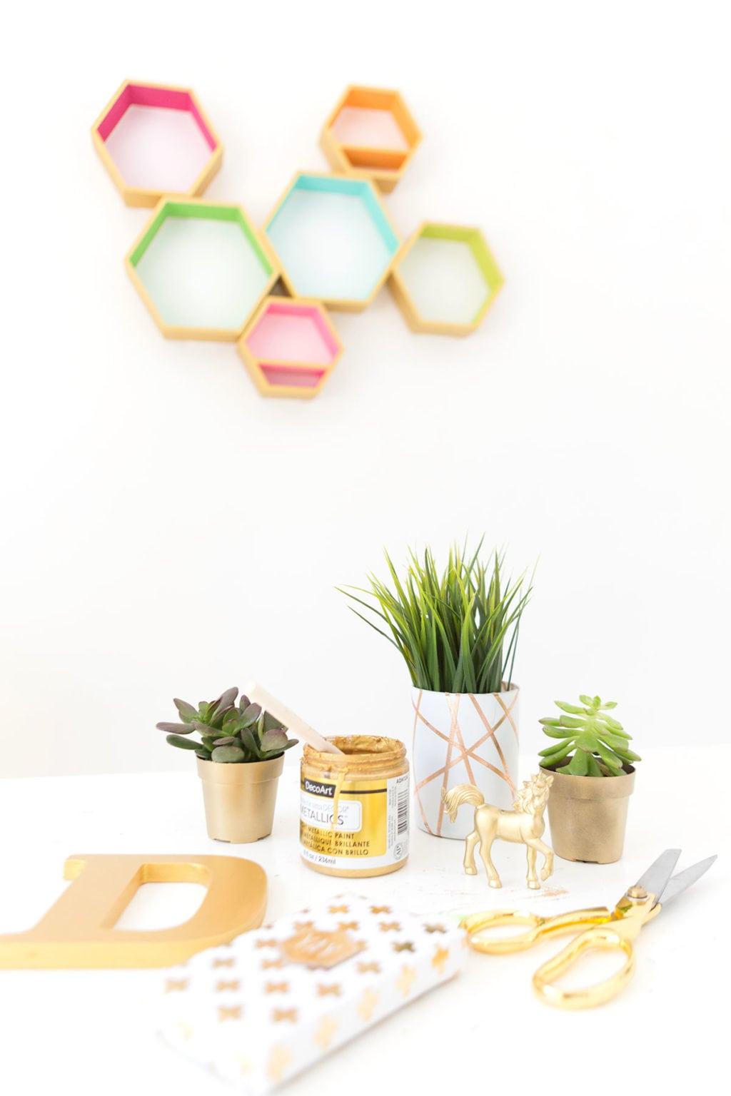 Decoart metallic hexagon wood shelves damask love create these decoart metallic hexagon wall shelves using decoart gold metallic paints to add perfect shimmer amipublicfo Gallery