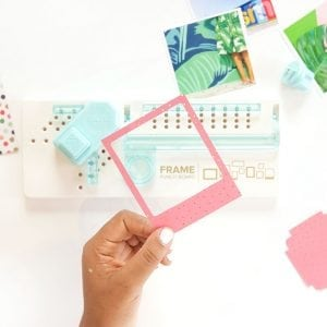 Use the We R Memory Keepers Frame Punch to create perfect paper polaroid frames for photos and other projects.