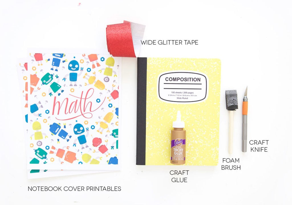 Diy Glitter Book Cover : Printable composition book covers damask love