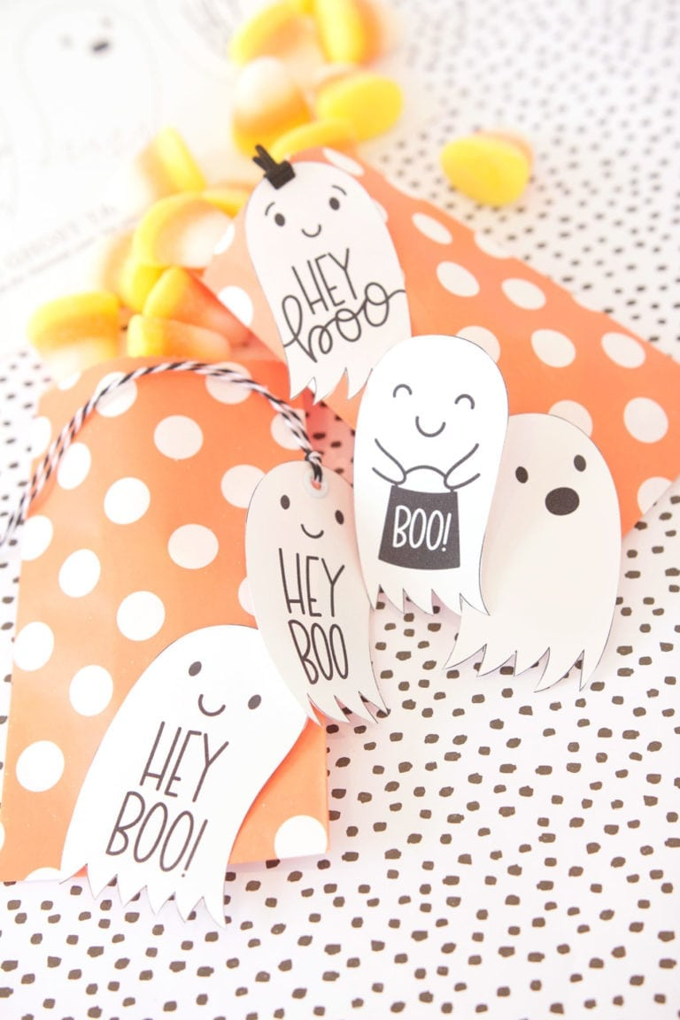 """Hey Boo"" Halloween Tag Printables"
