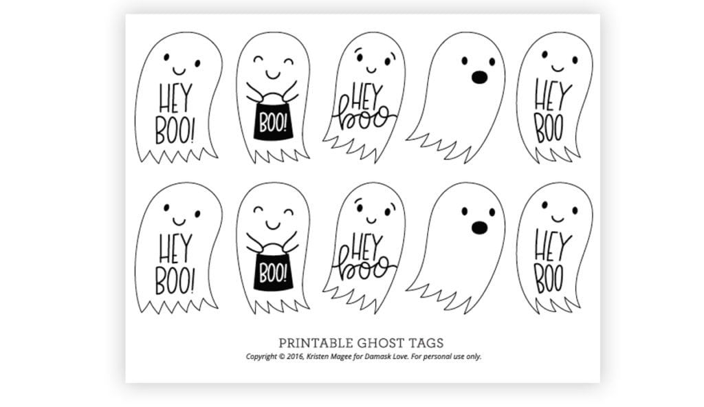 image about Printable Halloween Tags named Hey Boo\