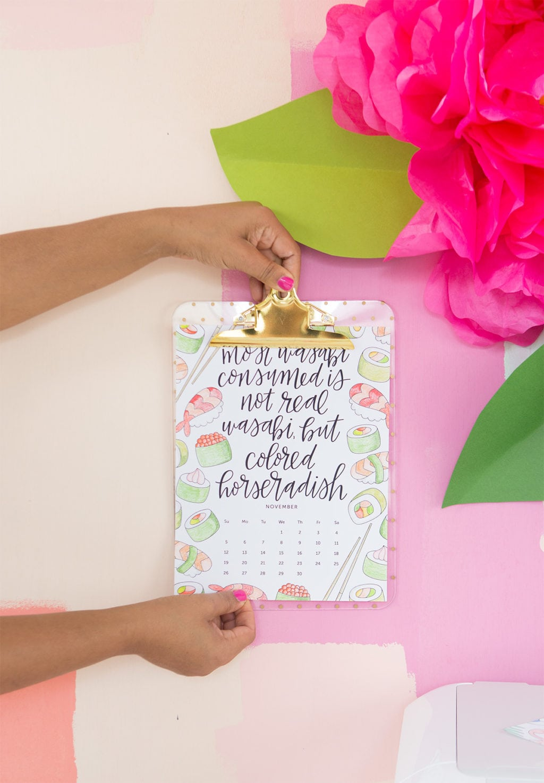 2017 Printable Coloring Calendar | Damask Love