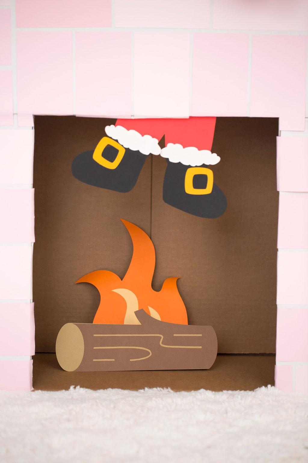 DIY Cardboard Box Fireplace | damask love