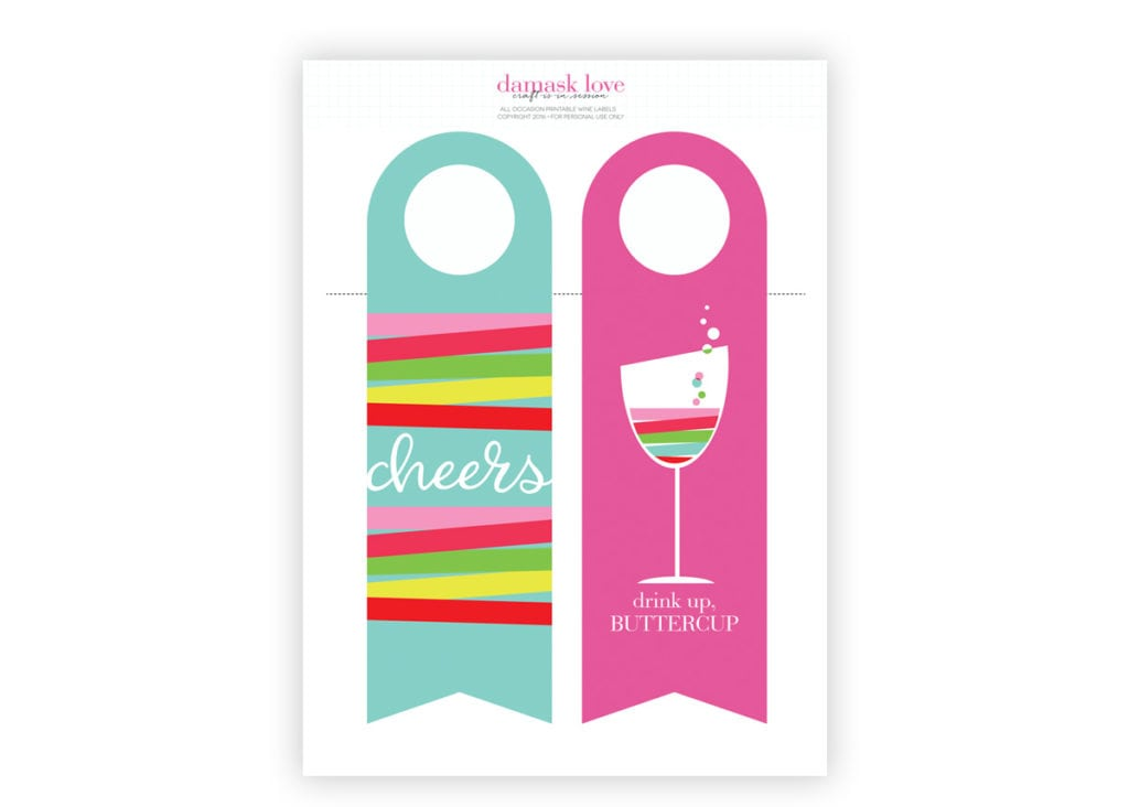 Printable Wine Tags | Damask Love